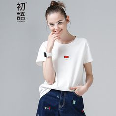 765fe80d658 Toyouth Summer Tops Women Watermelon Print T Shirts Base O-Neck Short  Sleeve Female T