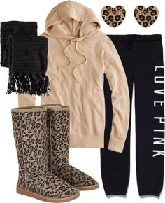 light brown jacket, black scarf, leopards ugg boots, black sweater jean, and leopards earrings Lazy Day Outfits, Casual Outfits, Cute Outfits, Pink Outfits, Fall Winter Outfits, Autumn Winter Fashion, Look Fashion, Womens Fashion, Teen Fashion