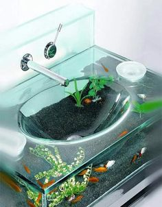Intalbrass' Moody Aquarium Sink The tank is watertight and sits on a chrome finish brass stand with an integrated towel rail in the front. Access for feeding and tank maintenance is through the two soap dishes on either side of the sink. Water circulation, oxygenation and filtration are all delivered by the powerhead provided. Read more: http://www.uphaa.com/blog/index.php/10-crazy-and-unique-fish-tanks/?section=4