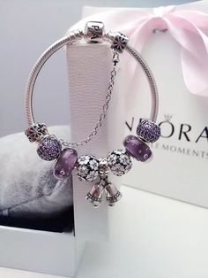 50% OFF!!! $219 Pandora Charm Bracelet Purple White. Hot Sale!!! SKU: CB01886 - PANDORA Bracelet Ideas