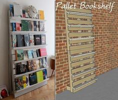 Pallet bookshelf + basic how to home decor diy bookshelves, diy bookshelf w Diy Dvd Shelves, Diy Bookshelf Wall, Pallet Wall Shelves, Bookshelf Storage, Wall Bookshelves Kids, Pallet Bookshelves, Book Storage, Book Shelves, Prospectus