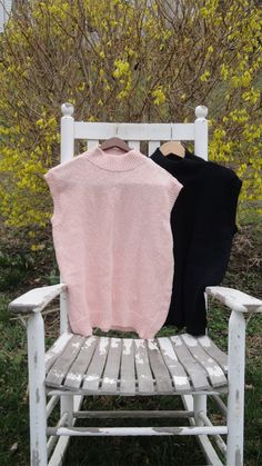 Pink Black White Top Blouse Tank Tunic. by ChesterRiverKnitting