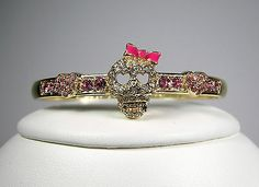 Betsey Johnson Pink Crystal Skull with Bow Gold Tone Bangle Bracelet MSRP $35