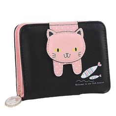 b94d89ccf78 Fishing Kitty Cat Leather Wallet! Cat Wallet, Cat Jewelry, Leather Wallet,  Pet. Poochnkitty