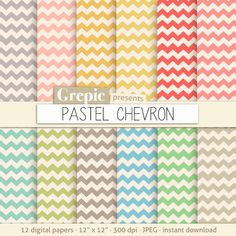 Chevron digital paper PASTEL CHEVRON digital paper pack by Grepic  https://www.etsy.com/listing/153076230/chevron-digital-paper-pastel-chevron?ref=shop_home_active_22