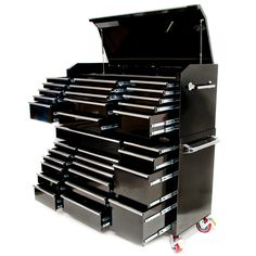 """One of our largest toolbox combinations consists of a 17 drawer roll cabinet and a 15 drawer top chest. Quality materials and the entire unit weighs 383kg. Extra storage compartment on the top chest with a full length piano hinge and 2 gas struts so it doesn't close unexpectedly. Industrial quality 6"""" castors. www.justprotools.com.au"""