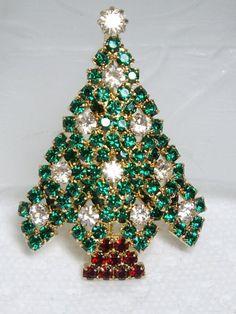 Superb RARE Eisenberg Ice Red Green Rhinestone Christmas Tree Pin Brooch | eBay
