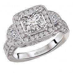 Vintage Semi-Mount Diamond Ring $4,875 Style: 117757-100 Vintage Style Pave' Set Diamond Ring with Filigree in 18kt White Gold (D. 1.0 carat total weight) This item is a SEMI-MOUNT and it comes with NO CENTER STONE as shown but it will accommodate a 5-5.5mm princess cut center stone.