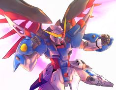 clenched_hand destiny_gundam glowing glowing_eyes gundam gundam_build_fighters gundam_build_fighters_try gundam_seed gundam_seed_destiny mecha mechanical_wings no_humans solo tamago_tomato wings