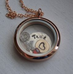 Rose Gold stainless steel Glass living floating personalized sterling silver 14k gold filled hand stamped to personalize. $75.00, via Etsy.