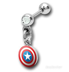 Captain America 316L Surgical Steel Cartilage Earring, I WANT ONE PEOPLE