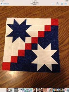 Flag Quilt, Patriotic Quilts, Star Quilt Blocks, Star Quilts, Barn Quilt Designs, Barn Quilt Patterns, Quilting Designs, Beginner Quilt Patterns, Patchwork Quilting