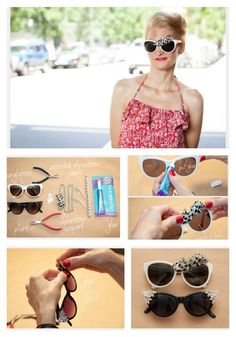 27 Inspired Ways To Decorate Your Sunglasses Diy Glasses, Striped Fabrics, Diy Accessories, Diy Clothing, Hippie Style, Cat Eye Sunglasses, Cheap Sunglasses, Diy Fashion, How To Look Better