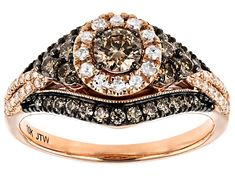 round champagne and white diamond, rose gold halo ring. Measures approximately x and is sizeable. Champagne center stone color may vary. Rose Gold Diamond Ring, Diamond Gemstone, Gold Ring, Diamond Jewelry, Chocolate Diamond Wedding Rings, Halo Rings, Photo Jewelry, Fashion Rings, Custom Jewelry