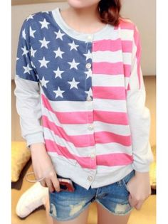 American Flag Lightweight Sweater @Ellie Dermody