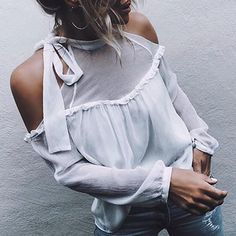 Popular Brand 2018 Summer New Women Sexy Care Off Shoulder Sling Top Chiffon Shirt Bright And Translucent In Appearance Women's Clothing