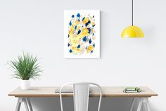 Beautiful Blue and Yellow Abstract Art Poster - This poster would look kgreat as living room art, dorm art, kitchen art, apartment art, etc. Categories: Home Decor, Wall Art, Art Gift Ideas, Abstract Watercolor Painting Print, Living Spaces, Art and Decor, Creative Spaces, Etsy Artists, Artists on Pinterest, Etsy Finds