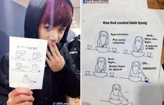 How god made Jimin-by Jungkook. Makes me wonder if they see all the Marcos made my their fandom though lol