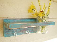 Distressed wood Keyholder / Shelf, home decor, shabby chic decor, turquoise,  shelves. $20.00, via Etsy.