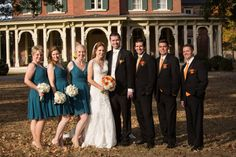 Beautiful Fall Nashville Wedding at Oakland Mansion. Nashville Wedding Photographer. Fall Wedding.  Oaklands Mansion. Teal Bridesmaids Dresses. Bridal Party. Lace Wedding Dress.