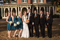 Beautiful Fall Nashville Wedding at Oakland Mansion. Nashville Wedding Photographer. Fall Wedding.  Oaklands Mansion. Teal Bridesmaids Dresses. Bridal Party. Lace Wedding Dress.
