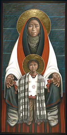 Hopi Madonna & Child painted by Father John Giuliani Religious Images, Religious Icons, Religious Art, Blessed Mother Mary, Divine Mother, Images Of Mary, Queen Of Heaven, Mama Mary, Mary And Jesus