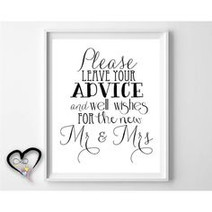 Wedding Advice Sign. Please Leave Advice and by InfiniteLoveDesign, $5.00