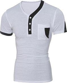 Color Block Dot Splicing Special V-Neck Short Sleeve Men's T-Shirt Cool T Shirts, Tee Shirts, Polka Dot T Shirts, Mens Clothing Styles, Men's Clothing, Women's Summer Fashion, Branded T Shirts, Shirt Style, Shirt Designs