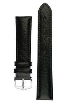 Hirsch HIGHLAND Calf Leather Watch Strap in BLACK