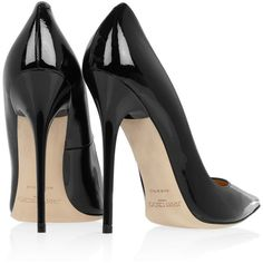 Jimmy Choo Anouk patent-leather pumps ($455) ❤ liked on Polyvore featuring shoes, pumps, heels, black, scarpe, black pumps, black slip-on shoes, black heel pumps, black high heel pumps and black evening shoes