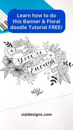 Learn how to create a banner and floral doodle composition Free | art tutorial step by step free | floral doodle art tutorial | Summer Creative Retreat Workshop #vialdesigns #flowerdoodle #bannerdoodle Hand Lettering For Beginners, Hand Lettering Tutorial, Hand Lettering Alphabet, Hand Lettering Quotes, Banner Doodle, Create A Banner, Floral Doodle, Creative Class, Flower Doodles