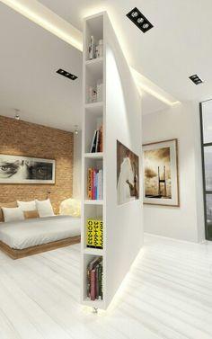 Bedroom Divider, Room Divider Walls, Living Room Partition Design, Room Partition Designs, Separation Studio, Home Room Design, House Design, Moving Walls, Movable Walls