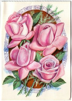 Vintage beautiful pop up 3D greeting card, with pink roses and birds. | eBay