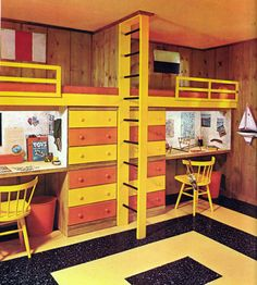 cool bunks with desks underneath in vintage room for kids