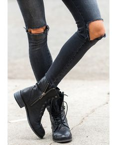 Aninesworld.com #AnineBing #rips #denim #casual #boots #spring