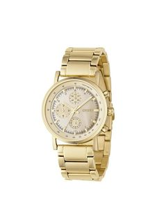 POLISHED GOLD CHRONOGRAPH WATCH DKNY