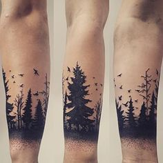 Forest Silhouette Tattoo forest silhouette art                                                                                                                                                                                 Más