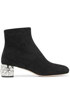 Miu Miu - Crystal-embellished Suede Ankle Boots - Black - IT36.5