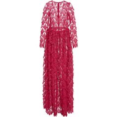 Alma V Neck Long Lace Dress | Moda Operandi ($825) ❤ liked on Polyvore featuring dresses, gowns, long gown, lace dress, long purple dress, purple ball gowns and lace gown