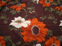 Vintage 1960's 70's Cotton Interiors Fabric Big Orange White Brown Flower Design | eBay