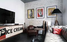 Серая кирпичная стена в интерьере гостиной #кирпич #дизайн #интерьер #декор #тренды #стиль #стена #лофт #brick #wall #interior #design