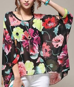 Statement Floral Batwing Sleeved Shirt