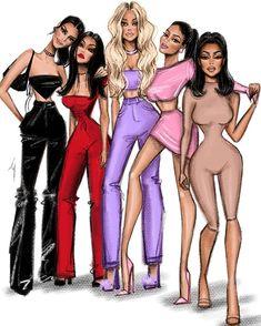 "Martha's aesthetic daybook en Instagram: ""if the girls were colors, I see them exactly these shades: ⠀⠀ 🖤 - @kendalljenner ⠀⠀ ❤️ - @kourtneykardash ⠀⠀ 💜 - @khloekardashian ⠀⠀ 💗 -…"" Fashion Design Sketchbook, Fashion Sketches, Kylie Jenner Drawing, Fashion Prints, Fashion Art, Fashion Outfits, Kylie Jenner Bikini, Instagram Cartoon, Girl Cartoon Characters"
