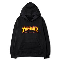 Trasher Hoodie ($54) ❤ liked on Polyvore featuring tops, hoodies, sweaters, cotton hoodie, hoodie top, sweatshirt hoodies, hooded pullover and cotton hooded sweatshirt