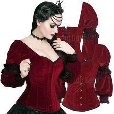 Gothic Maroon Overbust Corset with Attached Sleeve - £59.99 : From ANGEL CLOTHING