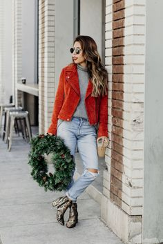 red jacket outfit, how to style a red jacket, outfit ideas for holiday