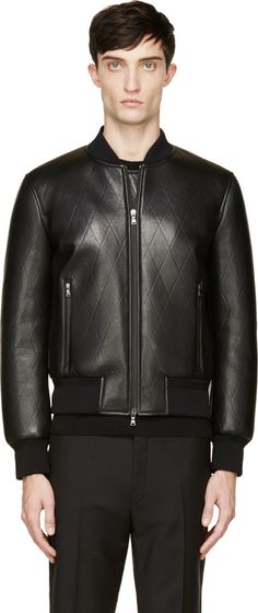 Neil Barrett - Black Leather Diamond Embossed Bomber Jacket