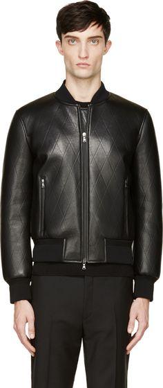 Neil Barrett Black Leather Diamond Embossed Bomber Jacket