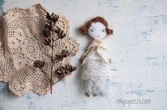 Winter Boho Girl Handmade gift Art doll brooch by miopupazzo