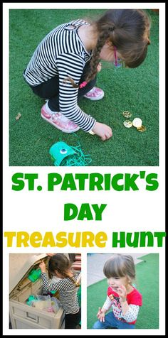 Saint Patrick's Day Treasure Hunt - Hide gold coins in the yard and let the fun begin! from Vicky from Mess For Less St Patrick Day Activities, Fun Activities For Kids, Art Activities, Rainbow Activities, St. Patricks Day, Saint Patricks, St Patrick's Day Crafts, Kids Crafts, March Crafts